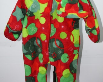 Baby Bunting with hat in ornaments and stars print fleece outerwear