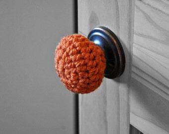 3 Orange Door Knob Covers Modern Design Toddler Protection Crocheted Home Decor Custom Colors