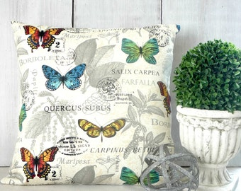 Bright Butterflies Pillow Cover - Blue - Orange - Yellow - Green - Butterfly Pillow - Entomology - Cottage - Farmhouse - Traditional