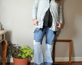 Boot Cut Hippie Upcycled Patchwork Jeans Stretch Blue jeans Flare Extra long tall plus curvy boho gypsy pirate size 18 xxl jeans refashioned