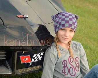 Slouchy Beanie Hat, Purple, Grey, Checker, Plaid, Hipster Slouch Hat, Urban, Trendy Hat, Toddler, School Beanie, Newborn Hat, Birthday Gift