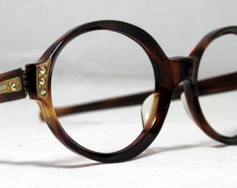 Vintage 60s Round  Tortoise Eyeglasses with Gold Designs Rhinestones