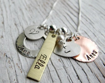 Personalized Family Charm Necklace, Mother's Necklace, Mommy, Grandma, 4 or 5 names, Hand stamped Mixed Metals