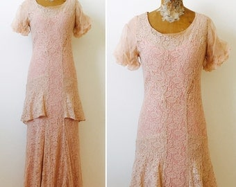 Vintage 1930s lace dress/Two piece set/Bias cut/Dusty pink