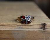 Antique Victorian garnet seed pearl flower ring ∙ Antique garnet pearl ring