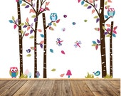 Wall Decals Nursery - Nursery wall decal - Birch Tree Decals - Baby Tree Decal - Bird Cage Decals - Nursery Wall Decals