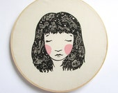 Constellation Hair Linocut Print. 12x12 inch.