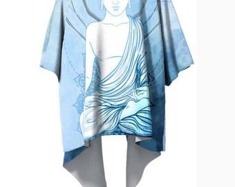 Blue Buddha Kimono Robe - Boho Geometry Kimono - Modern Wearable Art - Ombre Gradient Watercolor Clothing Handmade Art Robe - Drape Elegant