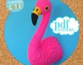 Flamingo head sewing pattern. Faux taxidermy. Pdf pattern. Pink felt. Trophy head. Animal, bird, interior decor. Wall bust. Kids room decor.