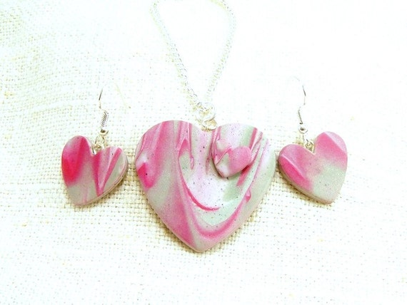 Pink Heart Necklace and Earring Set, Polymer Clay Jewelry