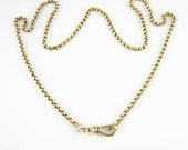 Antique Victorian 9 Carat Gold Chain Necklace, Heavy 10.65 Gram Belecher Link 54 cm / 21.25 inch Chain With Dog Clip.
