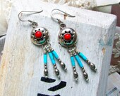 Cowgirl, Vintage Navajo Sterling Silver ,Natural Red Coral & Turquoise Signed C. Issacs, Boho Earrings from Hollywood Hillbilly