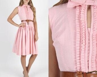 Vintage 50s Dress Swing Dress Pinup Dress Rockabilly Dress Party Dress Pink Gingham Cotton Dress Pinup Rockabilly Full Skirt Tuxedo Bow Mini