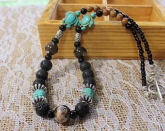 Men's Necklace, Turquoise and Black Lava Stone Beads, Chunky Silver Beading, 19-Inch Men's Choker, Brown Ceramic & Gemstone