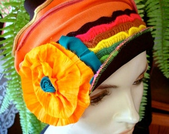 Womens Elegant hat  1920s Womens beanie Hat Soft Chemo headwear Flapper hat Bohemian  with Orange  Flower