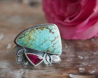 Vintage Turquoise, Pink Tourmaline, Sterling Silver Cocktail Ring, Statement Ring... Size 8, Size 8.25... I Dream In Color...