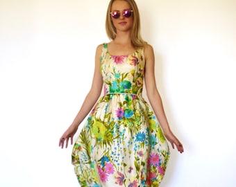 50s Silk Watercolor Floral Bombshell Bubble Dress xxs xs