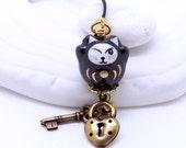 Black Maneki-Neko Cat Phone Charm - Happy Cat, Lucky Cat Bead, Red Porcelain, Choice of Antique Gold Brass Charm