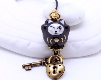 Black Maneki-Neko Cat Phone Charm - Happy Cat, Lucky Cat, Porcelain Bead, Choice of Antique Gold Brass Charm