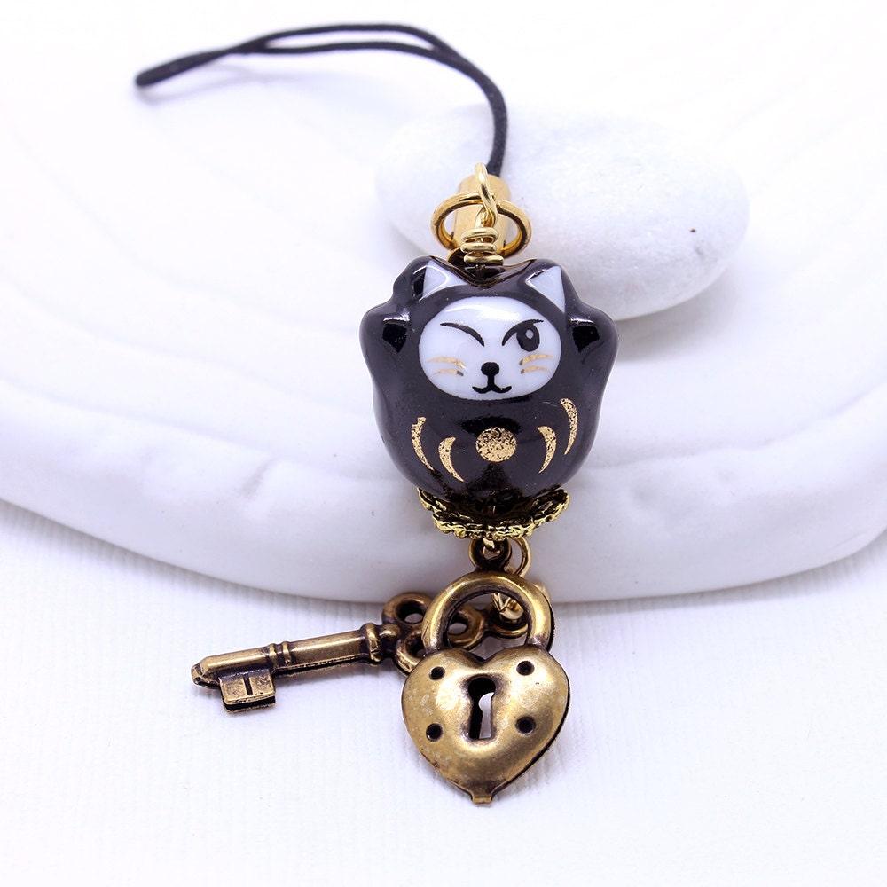 black maneki neko cat phone charm happy cat lucky cat