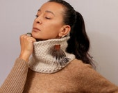 Ivory Scarf, Knit Infinity, Tube Scarf, Snood Scarf, Merino Wool Scarf Alpaca, Chunky Cowl,Real Fur Brooch Leather Detail Gift For Her, Wife
