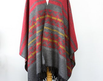 Fringe poncho Autumn fall accessories Southwestern Long poncho Winter wrap Blanket poncho Native clothing Large shawl Gray grey red