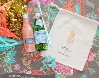 ALOHA Destination Wedding Welcome Favor Bags - Personalized Favor Bags - Set of 10 - Pineapple - Aloha Hawaii - Hawaiian Party