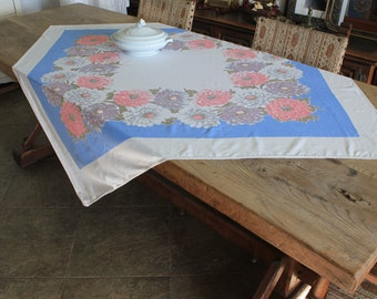 Vintage Mid Century Tablecloth with Dahlias Flowers