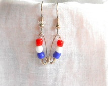Exclusive Design BBBBGifts Only Red White and Blue Earrings Friendship Pin Earrings Surgical Steel Earrings Beaded Earrings Team Colors Cubs