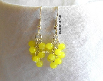 Yellow Cluster Earrings Czech Beads Bright Silver Plated Surgical Steel French Hooks SALE USA