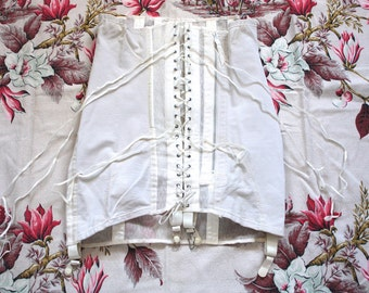 Vintage 1940s Girdle // 40s 50s White Spencer Corset Girdle with Garters // Pin Up // Open Bottomed Boned Long Line Girdle // DIVINE