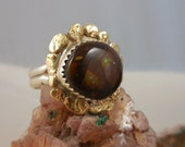 14K Gold Sterling Native American Fire Agate Ring