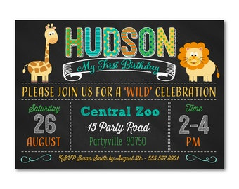 1st Birthday Invitation, Animal Birthday Invitation, Zoo Birthday Party,  Jungle Invitation,  Printable, Digital, 1020