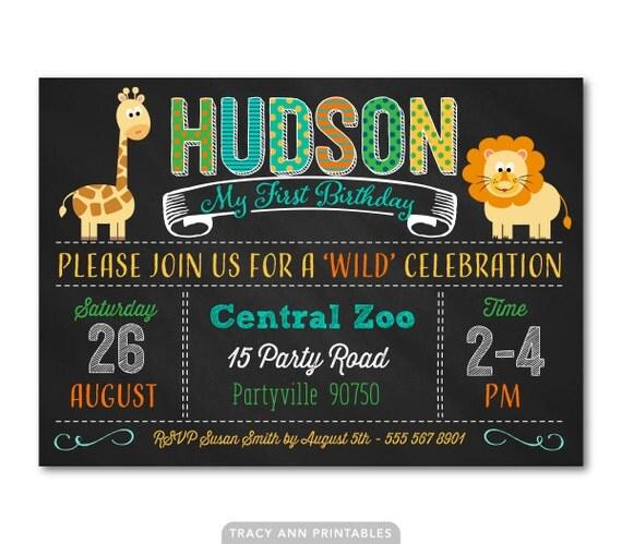 1st Birthday Invitation Animal Birthday Invitation Zoo