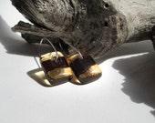 Mahogany & Amber Glass Earrings