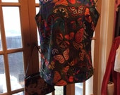 Vintage 1970s Blouse Top Butterflies John Abbott Label