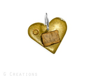 Heart LOTR Dog & Cat ID Tag - Small Gold DogTag -Map of Middle Earth and The One Ring - Inspired by Lord of the Rings n The Hobbit Accessory