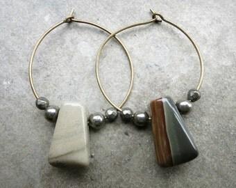 Asymmetrical Jasper Hoop Earrings, rustic beaded wire hoops with earthy Succor Creek jasper drops and iron pyrite