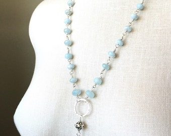 Aquamarine Silver Tassel Necklace Rosary Style Free Shipping In USA