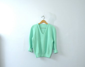 Vintage 80's mint blue sweater, teal sweater, turquoise sweater, size small