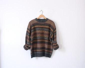 Vintage 90's striped southwestern wool sweater, dark earth tones, size large