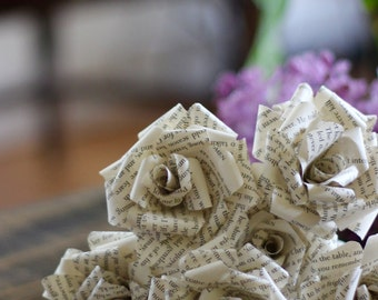 Little Women Book Paper Flowers - Louisa May Alcott Book Page Roses