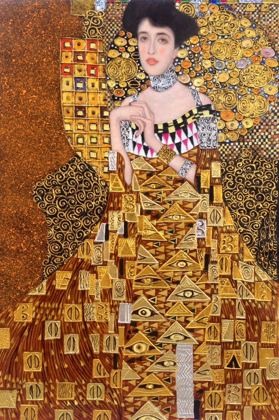 gustav klimt portrait of adele bloch bauer i reproduction oil. Black Bedroom Furniture Sets. Home Design Ideas