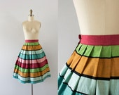 1950s Summer Carnival color block skirt / 50s cotton flare