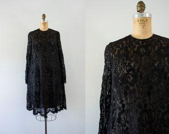 1980s Black Rose oscar de la renta dress / 80s romance