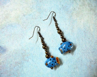 Little Blue Fish Earrings (2370)