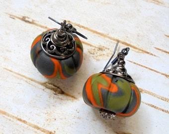 Orange, Black and Olive Green Swirl Pumpkin Earrings (2325)
