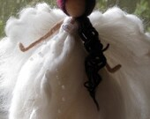 Angel Christmas topper Waldorf inspired Needle felted Tree top Fairy topper Supper white