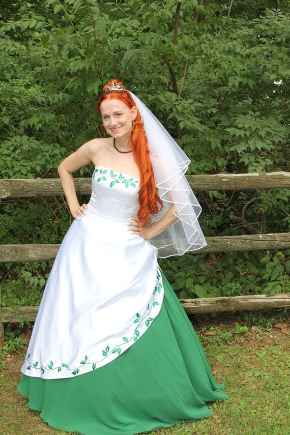 Stunning white and green wedding dress with by for White and green wedding dress