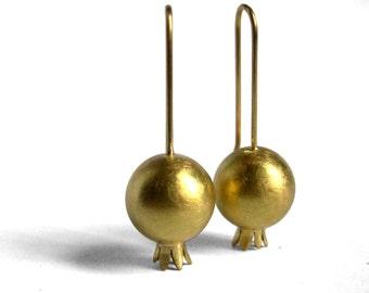 Pomegranate Earrings - 18K Gold - Ready To Ship